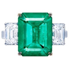 Emilio Jewelry Certified No Oil Unenhanced 6.00 Carat Vivid Green Emerald Ring