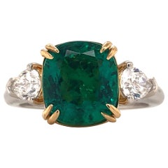 Emilio Jewelry Certified No Oil Untreated 4.18 Carat Emerald Ring