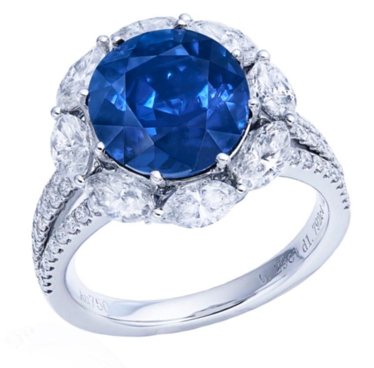 Round Cut Emilio Jewelry Certified Unheated 5.00 Carat Burmese Sapphire Ring For Sale