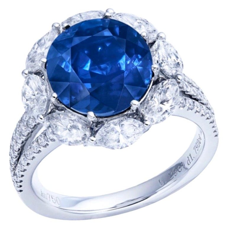 Emilio Jewelry Certified Unheated 5.00 Carat Burmese Sapphire Ring For Sale
