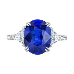 Emilio Jewelry Certified Vivid Blue Ceylon Sapphire Diamond Ring