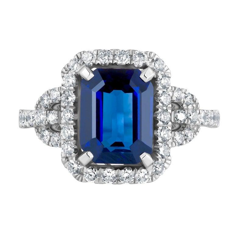 Emilio Jewelry Certified Royal Blue Emerald Cut Sapphire Diamond