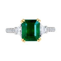 Emilio Jewelry Certified Vivid Green 3.83 Carat Emerald Diamond Platinum Ring