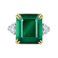 Emilio Jewelry Certified Vivid Green Emerald Diamond Ring