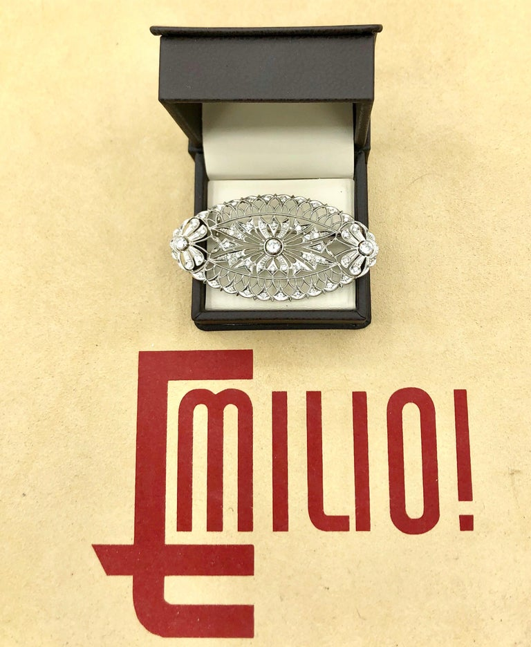 Emilio Jewelry Diamond Brooch In New Condition For Sale In New York, NY