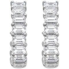 Emilio Jewelry Emerald Cut Inside Out Diamond Hoop Earrings