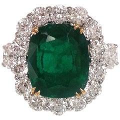 Emilio Jewelry Emerald Diamond Platinum Ring