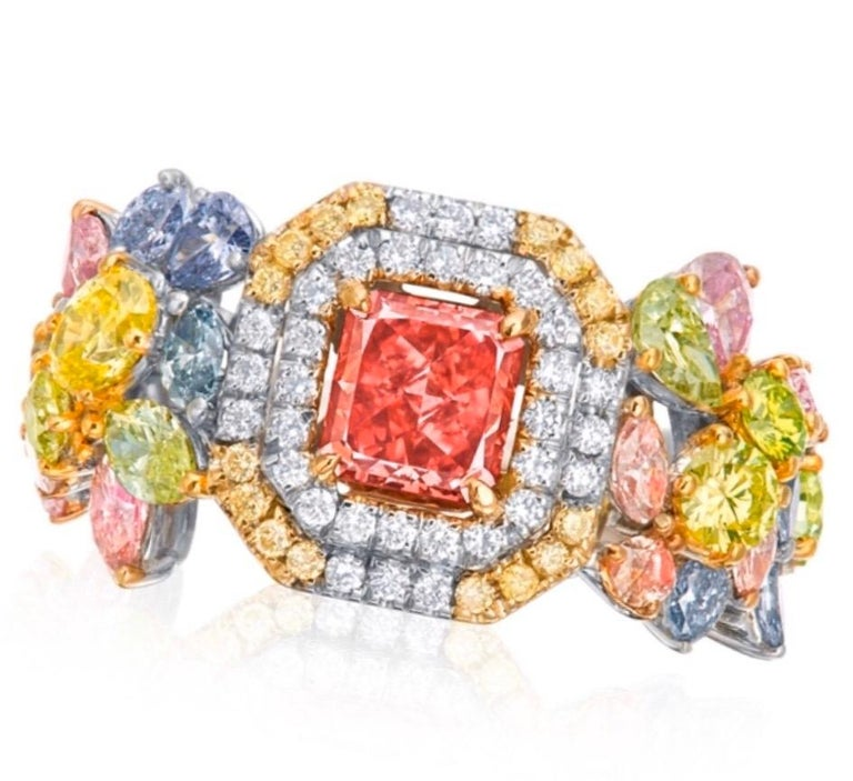 Radiant Cut Emilio Jewelry GIA Certified 1 Carat Fancy Deep Pink Diamond Ring For Sale