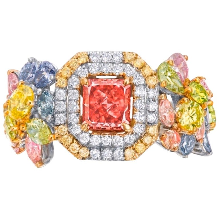 Emilio Jewelry GIA Certified 1 Carat Fancy Deep Pink Diamond Ring For Sale