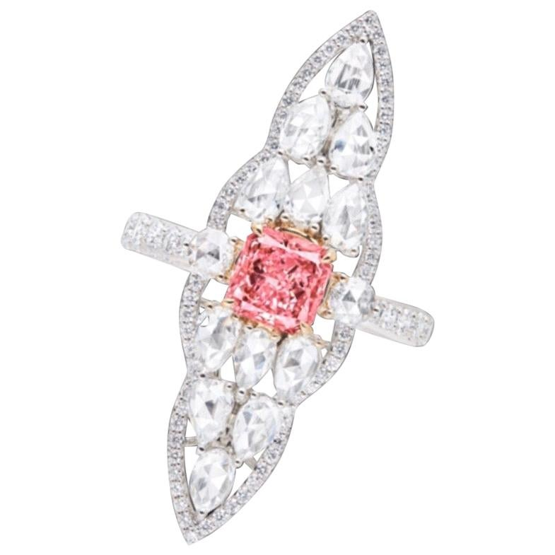 Emilio Jewelry GIA Certified 1 Carat Fancy Intense Pink Diamond Ring