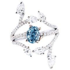 Emilio Jewelry GIA Certified 1 Carat Intense Greenish Blue Diamond