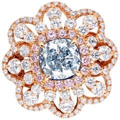 Emilio Jewelry GIA Certified 1 Carat Natural Fancy Light Blue Diamond Ring