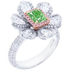 Emilio Jewelry GIA Certified 1.00 Carat Fancy Intense Green Diamond Ring