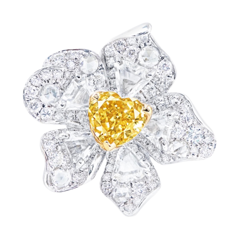 Emilio Jewelry GIA Certified 1.00 Carat Fancy Intense Heart Shape Diamond Ring