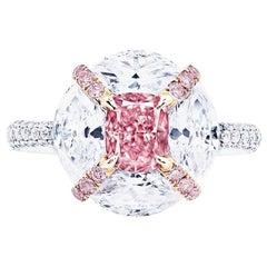 Emilio Jewelry GIA Certified 1.00 Carat Fancy Intense Pink Diamond Ring