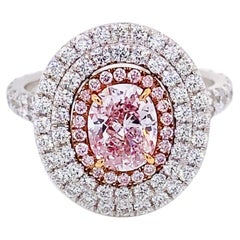 Emilio Jewelry GIA Certified 1.00 Carat Fancy Light Pure Pink Diamond Ring