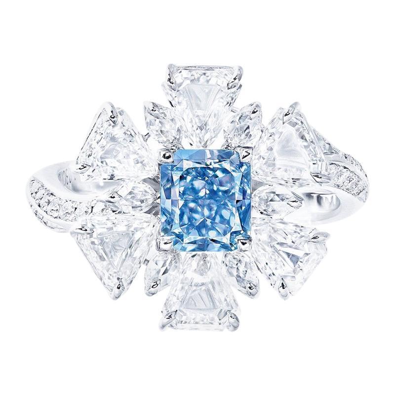 Emilio Jewelry GIA Certified 1.00 Carat Fancy Pure Blue Diamond Ring