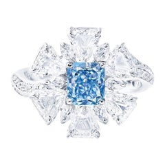 Emilio Jewelry GIA Certified 1.00 Carat Fancy Pure Blue Diamond Ring