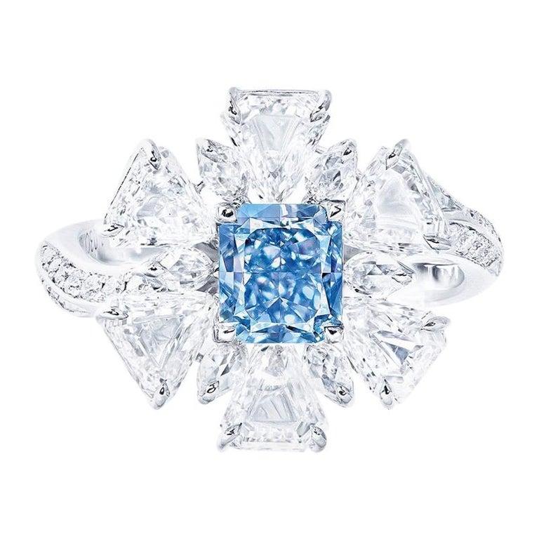 Emilio Jewelry GIA Certified 1.00 Carat Fancy Pure Blue Diamond Ring For Sale