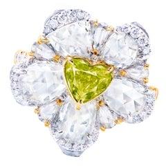 Emilio Jewelry GIA Certified 1.00 Carat Fancy Vivid Green Diamond Heart Ring