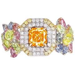 Emilio Jewelry GIA Certified 1.00 Carat Fancy Vivid Orange Diamond Ring