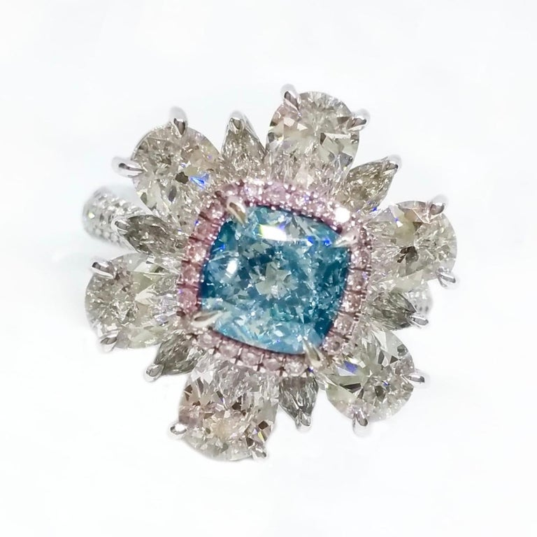 Radiant Cut Emilio Jewelry GIA Certified 2.00 Carat Pure Light Blue Diamond Ring For Sale