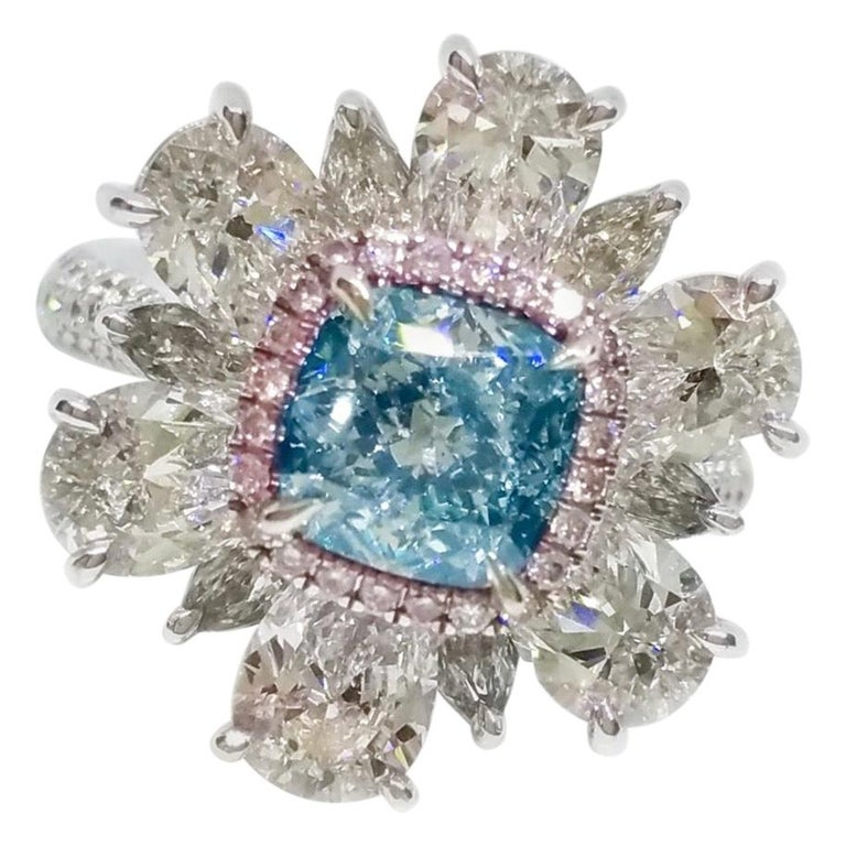 Emilio Jewelry GIA Certified 2.00 Carat Pure Light Blue Diamond Ring For Sale