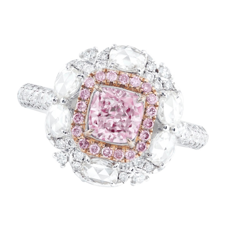 Emilio Jewelry GIA Certified 1.00 Carat Pure Light Pink Diamond Ring