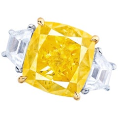 Emilio Jewelry GIA Certified 10.00 Carat Fancy Intense Yellow Diamond Ring