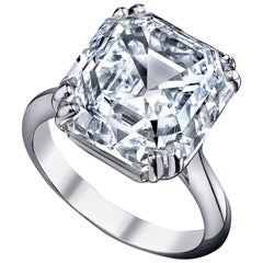 Emilio Jewelry GIA Certified 11.00 Carat Asscher Cut Diamond Ring