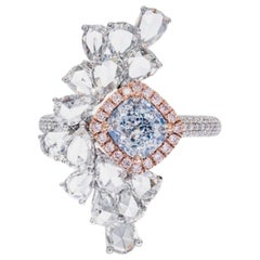 Emilio Jewelry GIA Certified 1.17 Carat Very Light Blue Diamond Ring