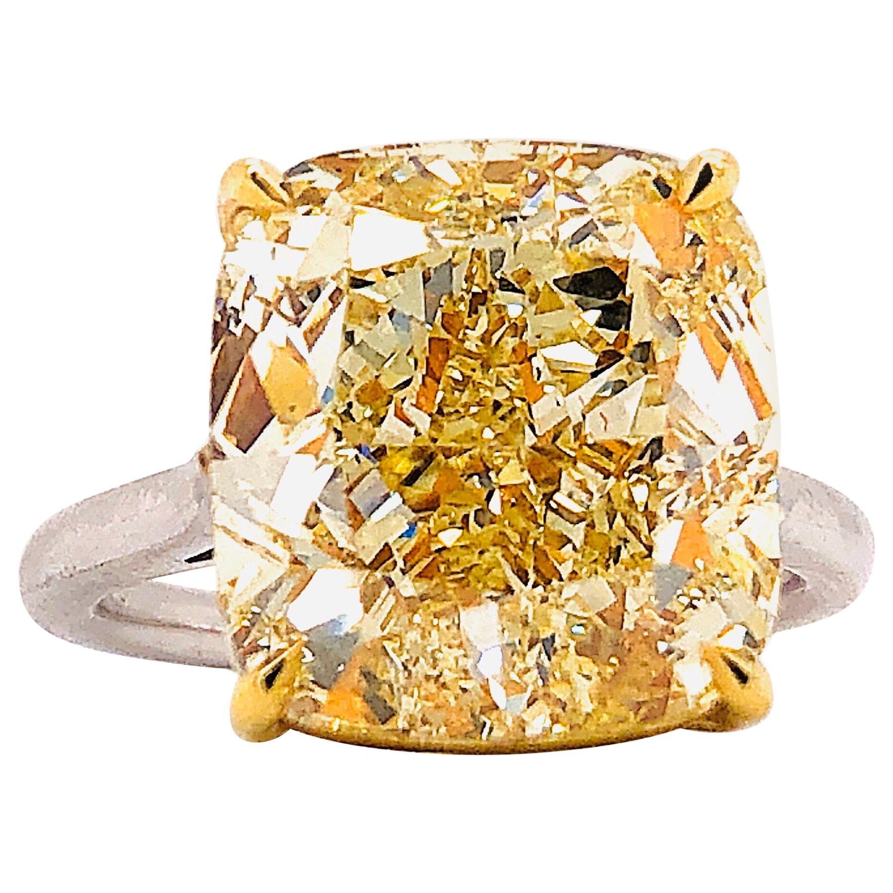 Emilio Jewelry GIA Certified 12 Carat Fancy Yellow Diamond Ring