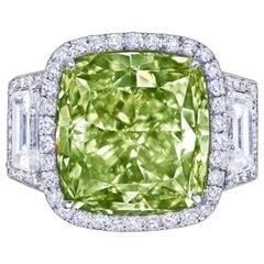 Emilio Jewelry GIA Certified 12 Carat Fancy Yellow Green Diamond Ring