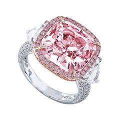 Emilio Jewelry GIA Certified 12.00 Carat Light Pure Pink Diamond Ring