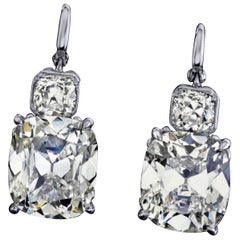 Emilio Jewelry GIA Certified 12.00 Carat Old Mine Diamond Earrings