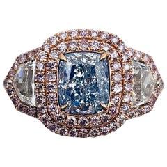 Emilio Jewelry GIA Certified 1.30 Carat Light Blue Diamond Ring