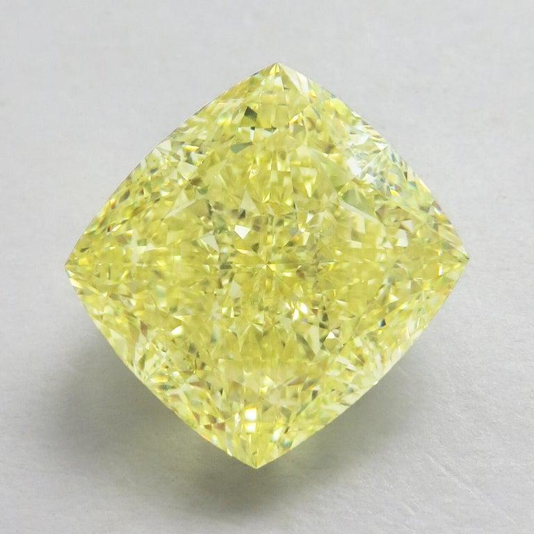 Cushion Cut Emilio Jewelry GIA Certified 15.00 Fancy Yellow Diamond For Sale