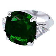 Emilio Jewelry GIA Certified 16.00 Carat Emerald Diamond Ring