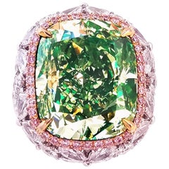 Emilio Jewelry GIA Certified 16.50 Carat Fancy Green Yellow Diamond Ring