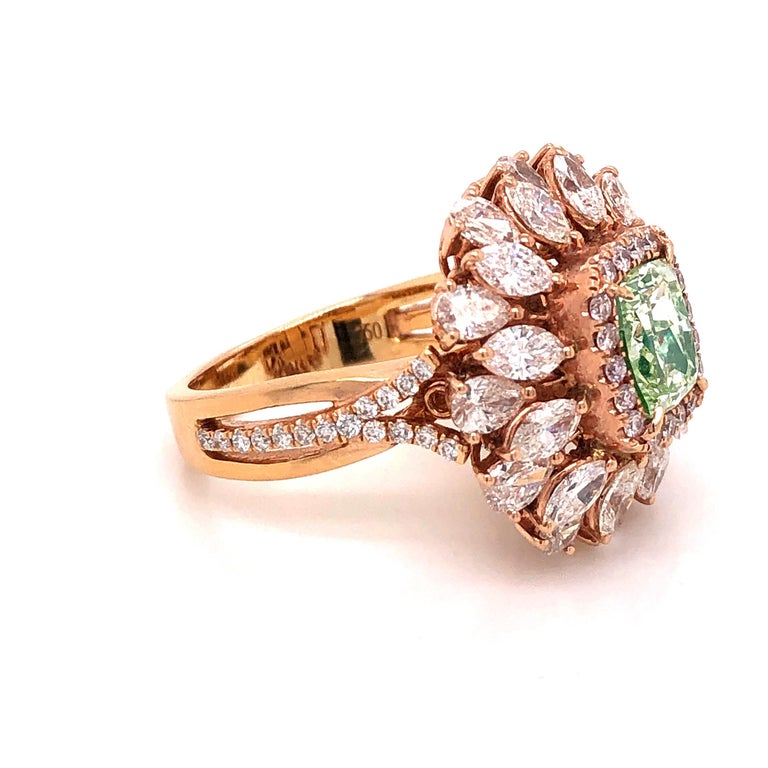 Emilio Jewelry GIA Certified 1.68 Green Diamond Ring In New Condition For Sale In New York, NY