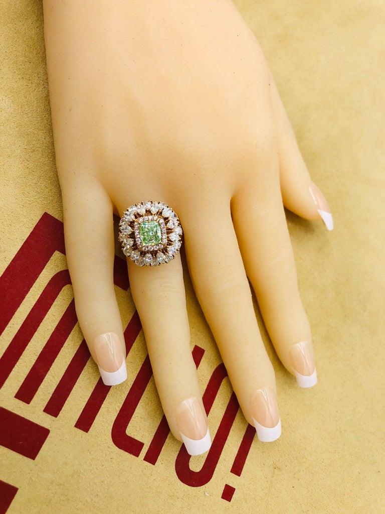 Women's or Men's Emilio Jewelry GIA Certified 1.68 Green Diamond Ring For Sale