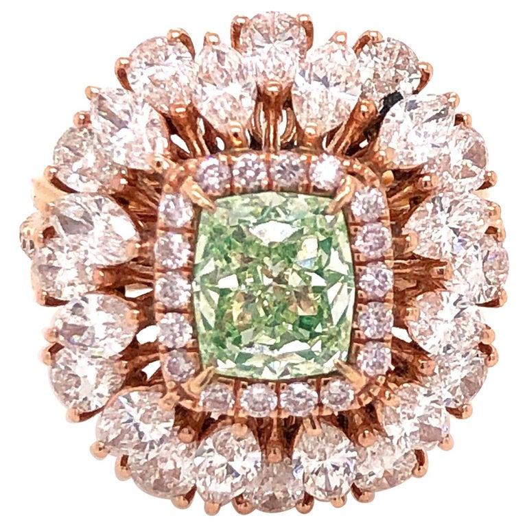 Emilio Jewelry GIA Certified 1.68 Green Diamond Ring For Sale