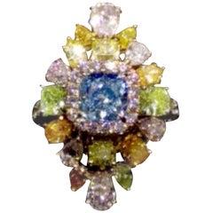 Emilio Jewelry GIA Certified 1.70 Carat Faint Blue Diamond Ring