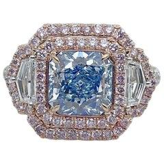 Emilio Jewelry GIA Certified 1.70 Carat Fancy Pure Light Blue Diamond