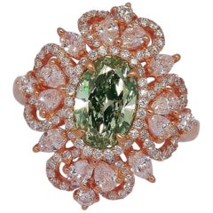 Emilio Jewelry GIA Certified 1.75 Carat Fancy Yellowish Green