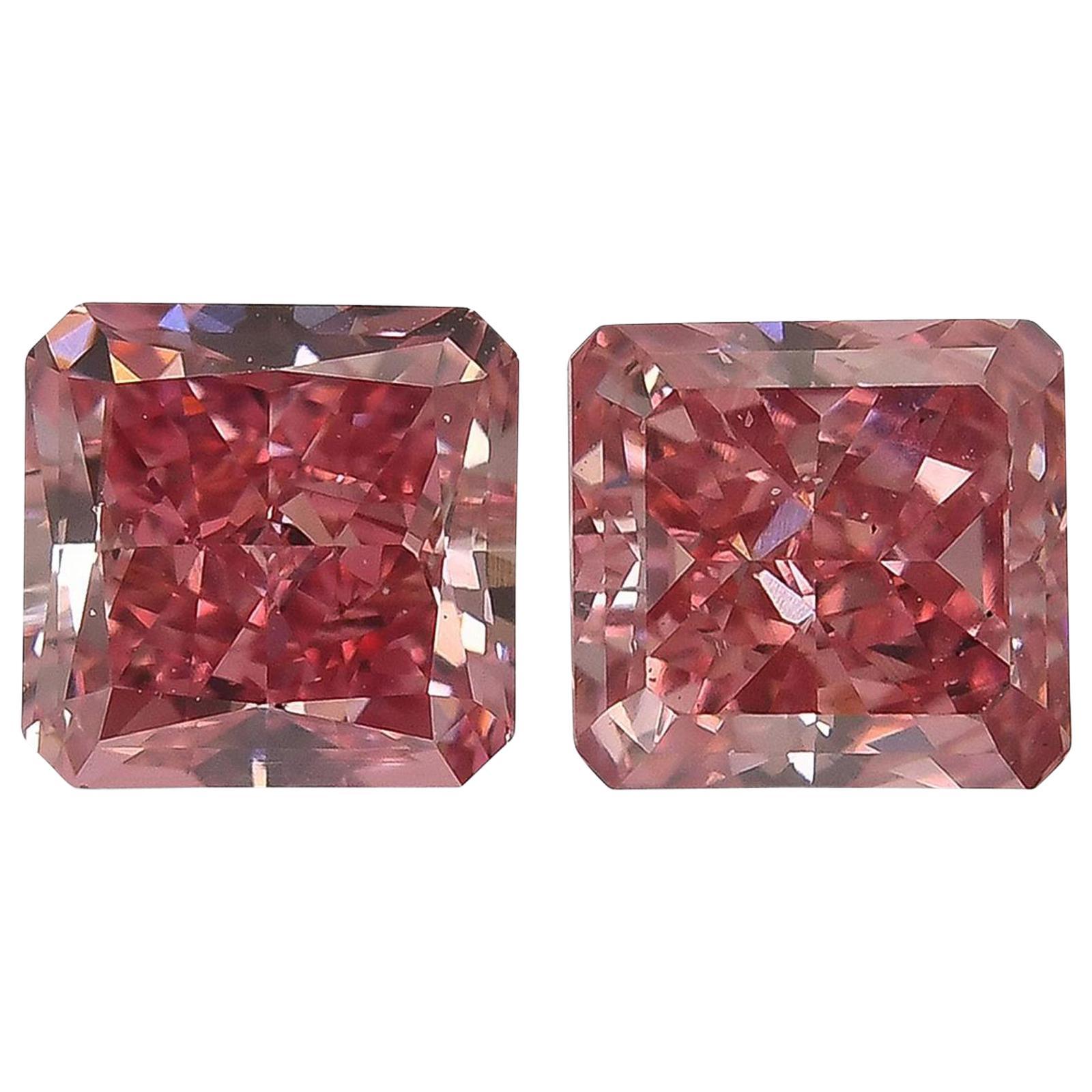 Emilio Jewelry GIA Certified 1.80 Carat Vivid Pure Pink Diamond, Pair
