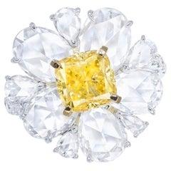 Emilio Jewelry GIA Certified 1.85 Carat Fancy Vivid Yellow Diamond Ring