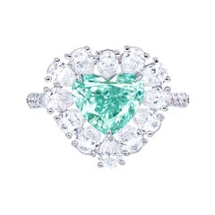 Emilio Jewelry GIA Certified 2.00 Carat Fancy Intense Blue Green Diamond Ring