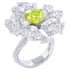 Emilio Jewelry GIA Certified 2.00 Carat Fancy Intense Green Heart Diamond Ring
