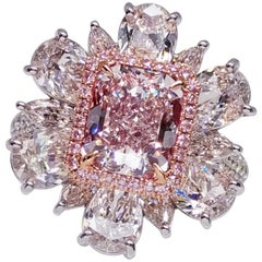 Emilio Jewelry GIA Certified 2.00 Carat Fancy Light Pure Pink Diamond Ring